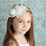 White : Ukamshop 1PC Super Cute Rhinestone Unusual Angel Girls Baby Pearl Flowers Hairband Headbands For Baby (White)