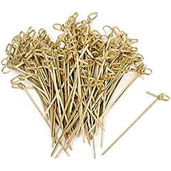 Vancool Brochetas de cóctel de nudo de bambú de 4 pulgadas Brochetas anudadas, 200 piezas, extremo torcido