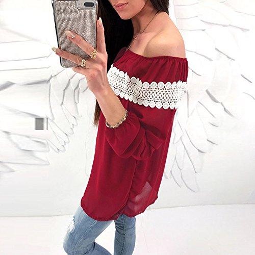 Decha Top à Manches Longues Bateau Cou T-Shirt Casual Tee-Shirt Mode Dentelle Patchwork Pour Printemps Automne Vin Rouge