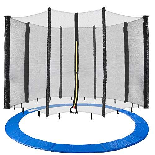 Arebos Trampolin Randabdeckung und Netz / 244, 305, 366, 396, 430, 460 und 490 cm/für 6 und 8 Netzstangen (490 cm, Netz für 8 Stangen)
