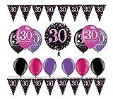 Feste Feiern Geburtstagsdeko Zum 30. Geburtstag I 14 Teile All-In-One Set Folienballon Luftballon Wimpelkette Pink Schwarz Violett Party Deko Happy Birthday