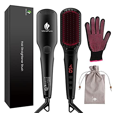 2-in 1 Ionic Hair Straightener Brush MCH Heating Hair Straightening Irons with Free Heat Resistant Glove and Temperature Lock