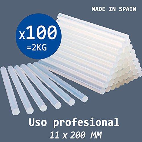 PACK 2 KG de COLA TERMOFUSIBLE 100 BARRAS de silicona para pistola caliente 11 x 200 MM - PROFESIONAL - Fabricada en España 100%