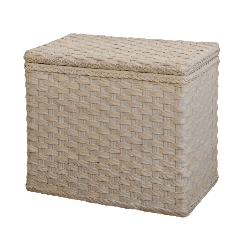 Rattan Laundry Basket with 3 Compartments in Vintage White