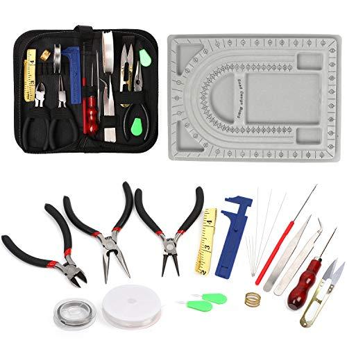 QY 23-teiliges Schmuck-Reparatur-Set mit Perlen-Design, Schmuck-Werkzeug, Schmuck-Draht für Ohrringe, Perlen, Armbänder, Halsketten, Bastelprojekte