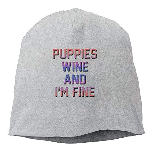 Puppies Wine and I'm Fine.PNG New Winter Hats Knitted Twist Cap Thick Beanie Hat Ash