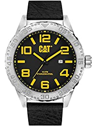 CAT Camden XL 52MM Men's Quartz Watch with Black Dial Analogue Display and Black Leather Strap NH.141.34.137