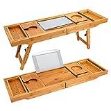 Badewanne Caddy & Laptop-Bett Schreibtisch - 2 in 1, Badewanne Tablett integriertem Ständer für Bücher oder Tablets, Badewanne halter und Organizer mit Smartphone und Weinglas Halter, Tablet-Halter