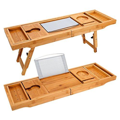 olz Badewanne Caddy Tray & Bambus Laptop Bett Schreibtisch Tablett 2 in 1 mit zwei skalierbare und verstellbare Füße, Badewanne Fach und Bad Organizer für jede Größe Badewanne in Weinglas, Telefon, Buch, Pad, Tablet-Halter gebaut (Wasser Tray)