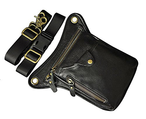 Genda 2Archer Utility Cross Over Tasche Leder Taille Bein Tasche (Braun 4) Schwarz