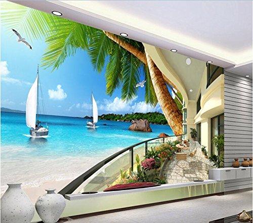 Xcmb 3D Wallpaper High-End-Benutzerdefiniertes Foto Vlies Wandaufkleber 3D Seaview Resort Balkon Malerei 3D Wand Zimmer Wandbilder Tapete-120Cmx100Cm -