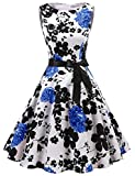 Gardenwed Damen Vintage 1950er Partykleid Rockabilly Ärmellos Retro CocktailKleid White Blue Flower in Gr.S