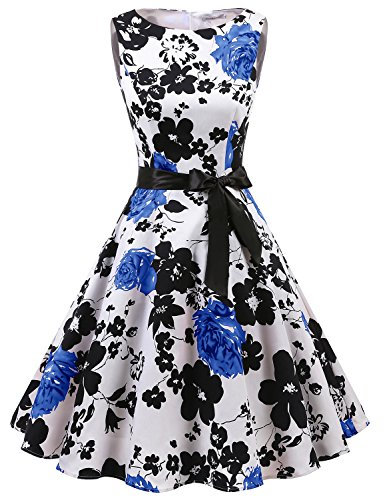 Gardenwed Damen 1950er Vintage Cocktailkleid Rockabilly Retro Schwingen Kleid Faltenrock White Blue Flower 2XL