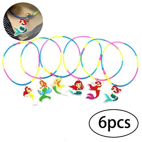 6pcs Pvc Mermaid Regenbogen-Geburtstags-Silikon-Halskette Einhorn Tag der Kinder Kinder Bevorzugungen Einhorn