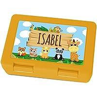 Preisvergleich für Brotdose mit Namen Isabel - Motiv Zoo, Lunchbox mit Namen, Frühstücksdose Kunststoff lebensmittelecht