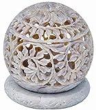 Starzebra realizzato a mano in pietra ollare tealight portacandele a forma di sfera con intricato viticcio Openwork