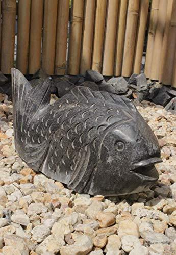 Asien Lifestyle Koi Fisch-Wasserspeier aus Naturstein (40 cm) Asiatischer Deko Fisch für Brunnen