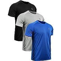Neleus Men's 3 Pack Mesh Athletic Running Sport Shirt,5033,Black,Blue,Grey,XL,EU 2XL