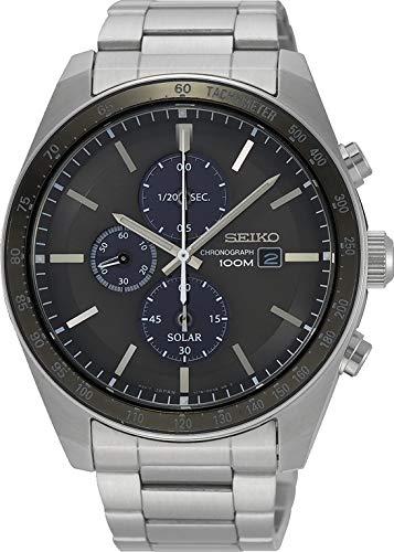 Seiko Herren Chronograph Solar Uhr mit massives Edelstahl Armband SSC715P1 (Seiko Uhr Chronograph)