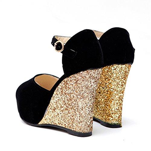 UH Femmes Sandales à Talons Compensees Bride Cheville de Boucle Peep Toe Confortables Simple et Brillant Noir