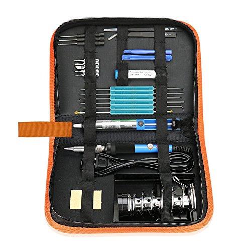 Preisvergleich Produktbild 21in1 Lötkolben Set, Pushingbest 220V 60W Lötset Elektro Lötkolben Set Temperatureinstellbares Lötkolben-Set mit 6 Hilfswerkzeugen 5 Lötspitzen 2 Pinzetten 1 Störungspumpe 1 Blechschlauch 1 Schweißen Eisenklammer Lötkolben-Werkzeugkit mit PU-Beutel und Telefon Reparatur-Werkzeug