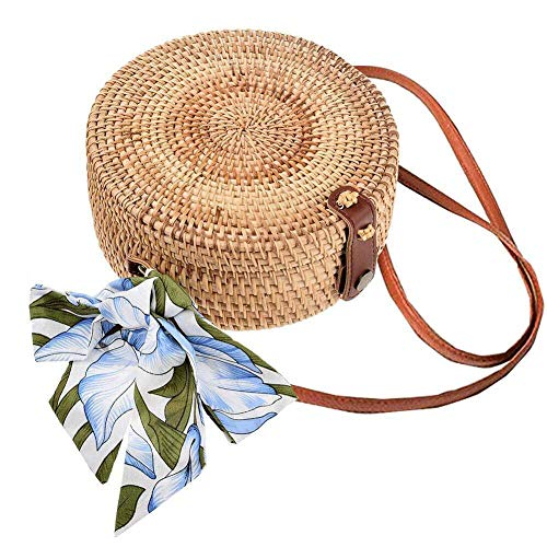 lili Runde Bali Rattan Tasche Handgemachte Runde Stroh Gewebt Kreis Crossbody Handtasche Verstellbarer Gurt Für Frauen,Style-2(Short + Long Strap)