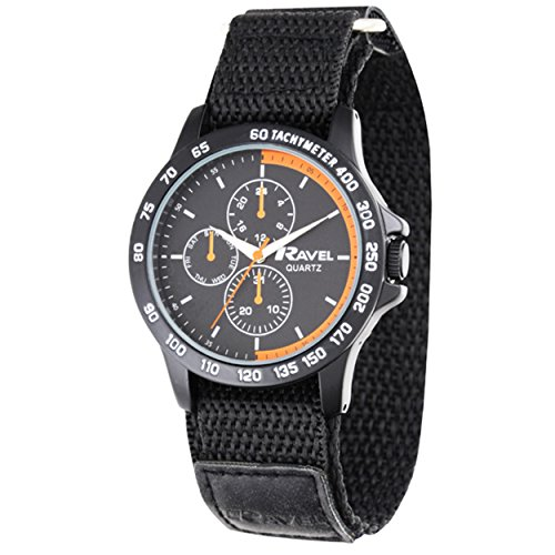 Image of Ravel Work Watch with Fast Fit Action Grip Velcro Strap Men's Quartz Watch with Black Dial Analogue Display and Black Nylon Strap R1601.62.38