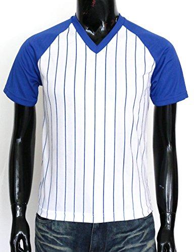 BCPOLO Herren Stripe V-Neck Shirt Sportlich Kurzarm T-Shirt Blue