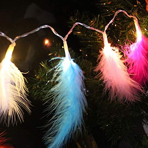Nakeey 2.2m 20 LED Bunte Federn Lichterketten mit 8 Licht Modi Fernbedienung Romantische Wand Vorhang Dekoration für Hochzeit Geburtstag Party Schlafzimmer Innen Warmweiße
