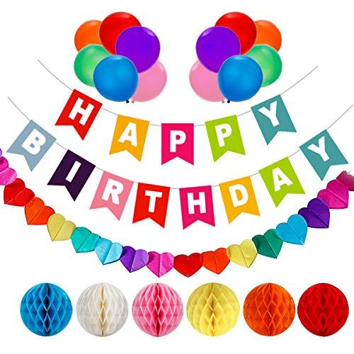 AOBETAK Geburtstagsdeko, 1 Happy Birthday Girlande, 6Bunt Wabenbälle Pompons, 1Regenbogen Girlanden und 12Ballons,Geburtstags Party Deko für Mädchen Jungen Damen Herren Kinder Girl Boy