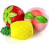 Biging 3 Stücke Kawaii JumboFruit Squishies Spielzeug Stress Relief Toys Langsam Rising Squishies ( Erdbeere, Pfirsich, Ananas )