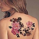 TAFLY Extra großen unteren hinteren farbige Baum Pfingstrose Blume temporäre Tattoos Körper Kunst Transfer Aufkleber für Damen 2 Blätter