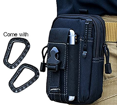 Wynoz Black 1000D Nylon Tough Duty Tactical Backpack Molle EDC Pouch Universal Casual Outdoor Gear Carrying Kit Capacity Tool Belt Waist Pack Holster for iPhone 6s Plus Samsung Note 5
