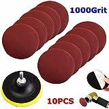 10pcs 4pulgadas 1000Grit Papel de lija con plato de soporte para y taladro