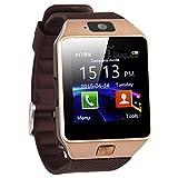 DH09Bluetooth-Smartwatch mit SIM-Karten-Slot zum Telefonieren, 2 MP-Kamerasupport, SMS-Benachrichtigung, TF-Karte, Schrittzähler, Schlafmonitor. Kompatibel mit Android- und iOS-System (Gold)