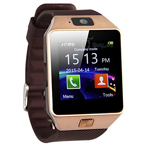 DZ09 Bluetooth Smart Watch with SIM Card Slot Make Phone Calls 2.0MP Camera Support Message Notification TF Card Pedometer Sleep Monitor Compatible with Android and iOS System (Gold)