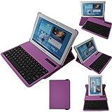TECHGEAR Schutzhülle/Stand für Samsung Galaxy Tab 2 10.1 P5100/P5110/P5120 (PU-Lederhülle und Stand mit abnehmbarer kabelloser Bluetooth-Tastatur, 360° schwenkbar) violett