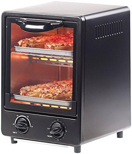 Rosenstein & Söhne Mini Ofen: Kompakter Mini-Backofen mit zwei Ebenen, 900 Watt, 9 Liter, Hochformat (Kleiner Backofen) -