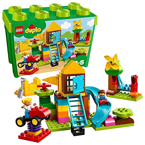 LEGO 10864 DUPLO My First Large Playground Brick Box with Bouncy Car and Windmill, Easy Toy Storage Set for Kids 2-5