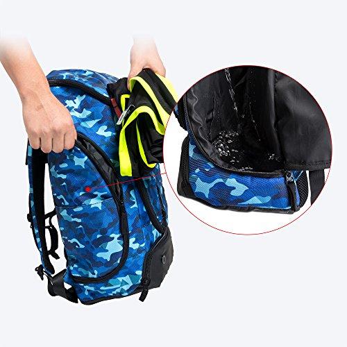 Kuangmi zaino con sfera porta scarpe vestiti bagnati borse pieghevoli per outdoor sport basket calcio viaggi scuola uso, Black Blue