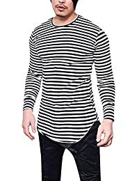 BUSIM Men's Long Sleeved Shirt Autumn Classic Striped Casual Round Neck High Elastic Casual Street Slim T-Shirt...