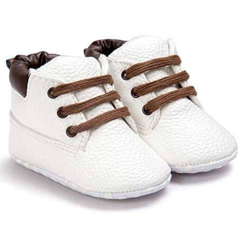 Hunpta Neue Baby jungen Mädchen Schuhe Baby Kleinkind weiche Sohle Leder lauflernschuhe Baby Boy Girl Schuhe (13, Weiß) Weiß