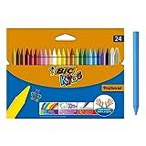 Bic Kids Plastidecor Pastelli Colorati Confezione da 24 Pastelli Colori Assortiti
