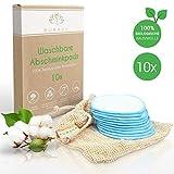 PURAVA® [10x] Abschminkpads waschbar - 100% Natürliche Bio Baumwolle - Zero Waste Alternative - Nachhaltige Reinigungspads wiederverwendbar -Idealer Make Up Entferner - INKL. Wäschenetz + Ebook