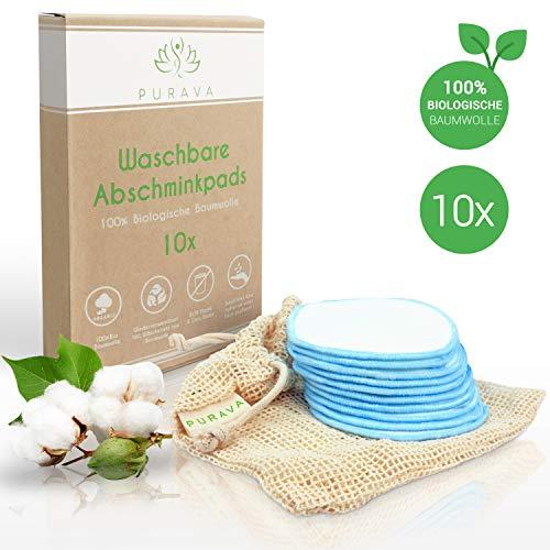 PURAVA® [10x] Abschminkpads waschbar - 100{c8330676d3bfff31e1f5333c300ac1ae9d757a1c50bf088c5ad76cc051ddd2aa} Biologische Baumwolle - Zero Waste Alternative - Nachhaltige Reinigungspads wiederverwendbar -Idealer Make Up Entferner - INKL. Wäschenetz + Ebook