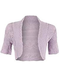 (FF11) nuevo niñas Crochet Knit Bolero Shrug Womens/niñas manga corta Cardigan Top tamaño > 2–13yrs