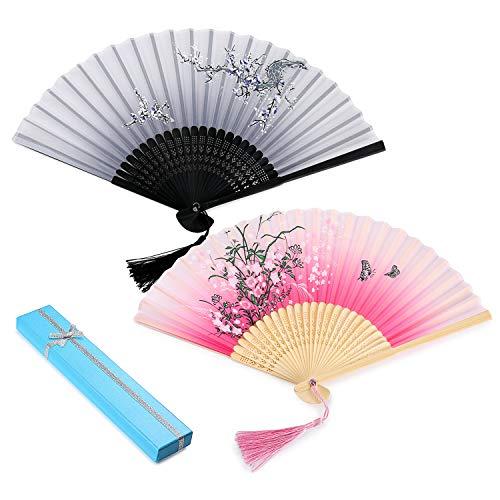 2 Stück Japanischer Handfächer mit Geschenkbox Folding Fans Hand Fans Bambus Fans mit Quaste Frauen Ausgehöhlten Bambus Hand Halten Fans für Wanddekoration, Geschenke(Rot & ()