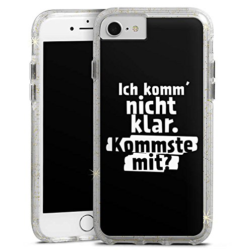 Apple iPhone 8 Bumper Hülle Bumper Case Glitzer Hülle Phrases Sprüche Sayings Bumper Case Glitzer gold