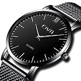 CIVO Armbanduhr Herren Ultra Dünne Minimalistische Wasserdicht Männer Uhren Elegant Luxus Geschäfts Beiläufig Herrenuhr mit Schwarzes Milanese Mesh Uhrenarmband Analog Quarz Uhren