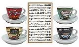 Espressotassen Set aus Porzellan Tassen Inkl Unterteller in Geschenkverpackung + GRATIS Geschirrhandtuch Modern Retro Design